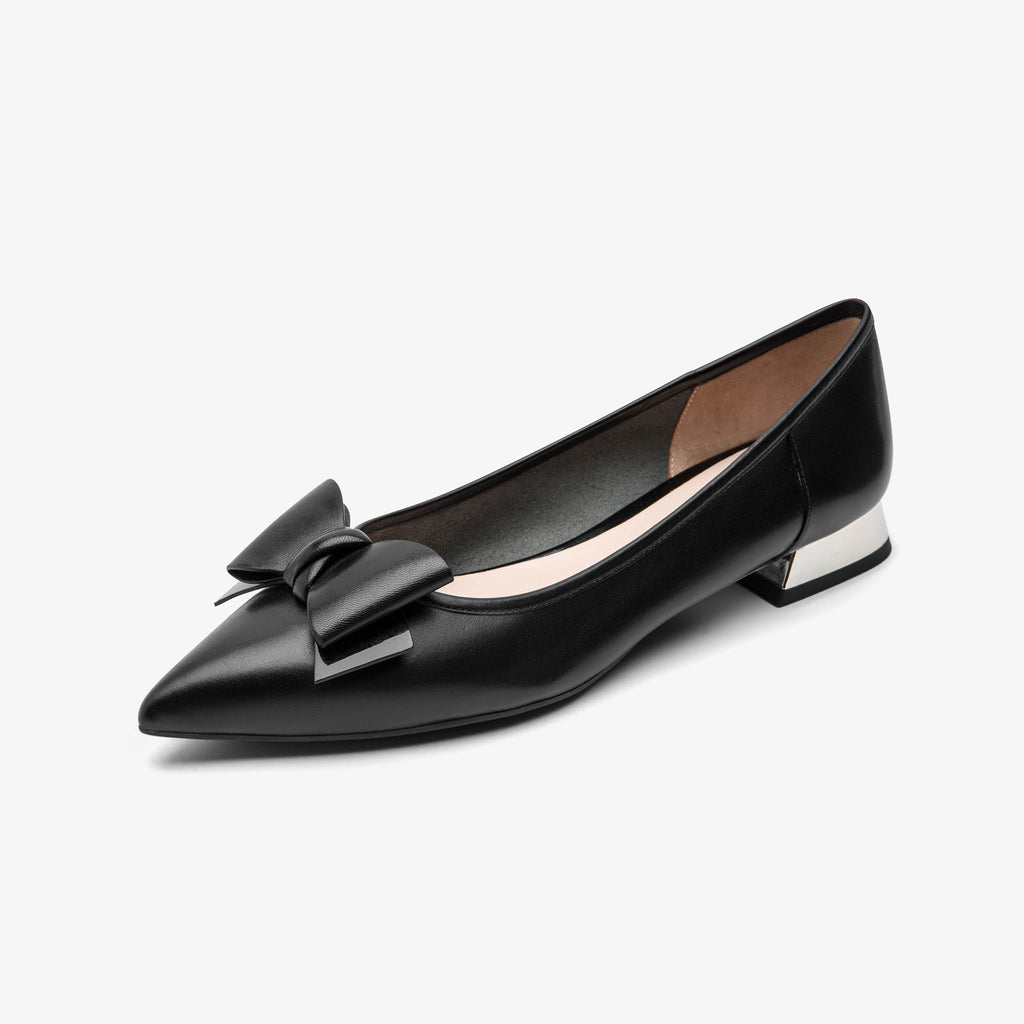 Ballet Flats with Bow Detail - Black 1M13041 BKL