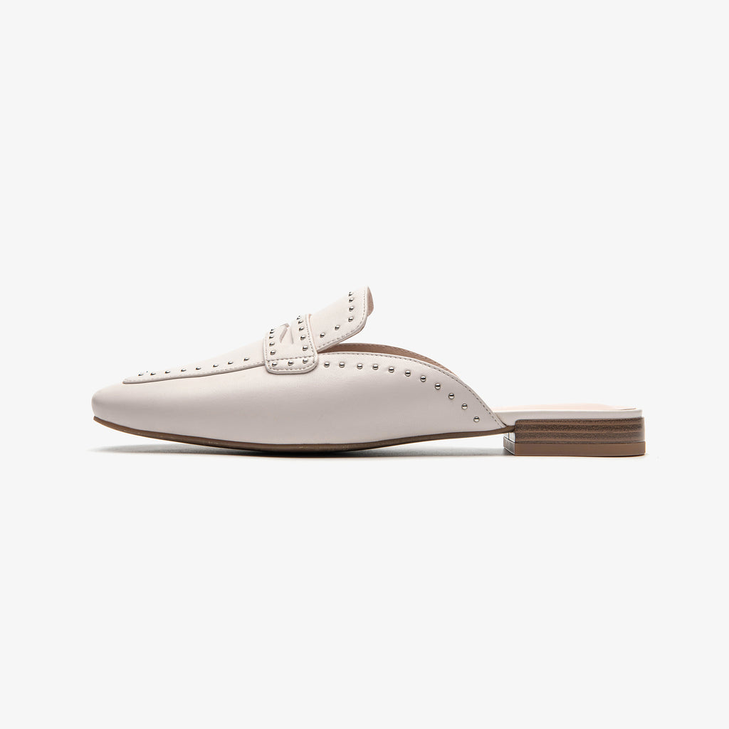 Leather Mules with rivet details - White 1M16502 OWK