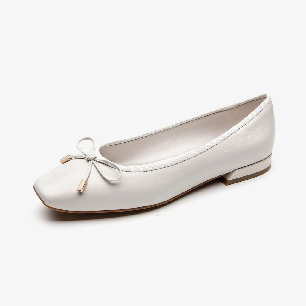 Leather Square Toe Flat Shoes - White 1M20802 OWK