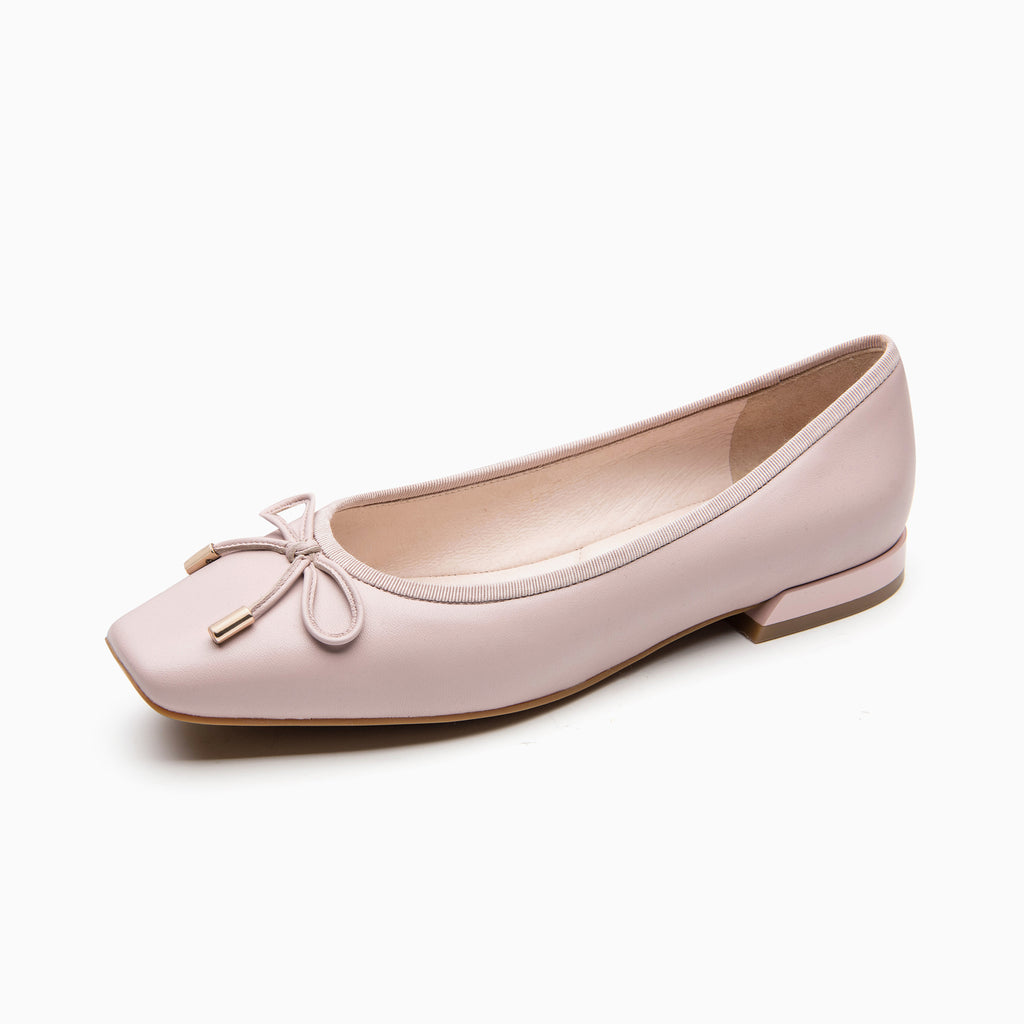 Leather Square Toe Flat Shoes - Pink 1M20802 PNK