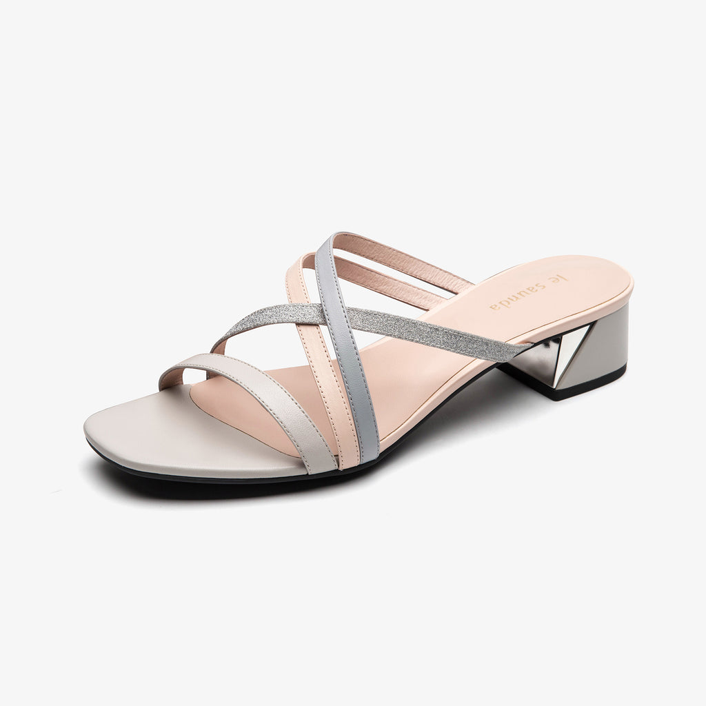 Leather Slip-on Sandals - Grey 1M33903 GYK