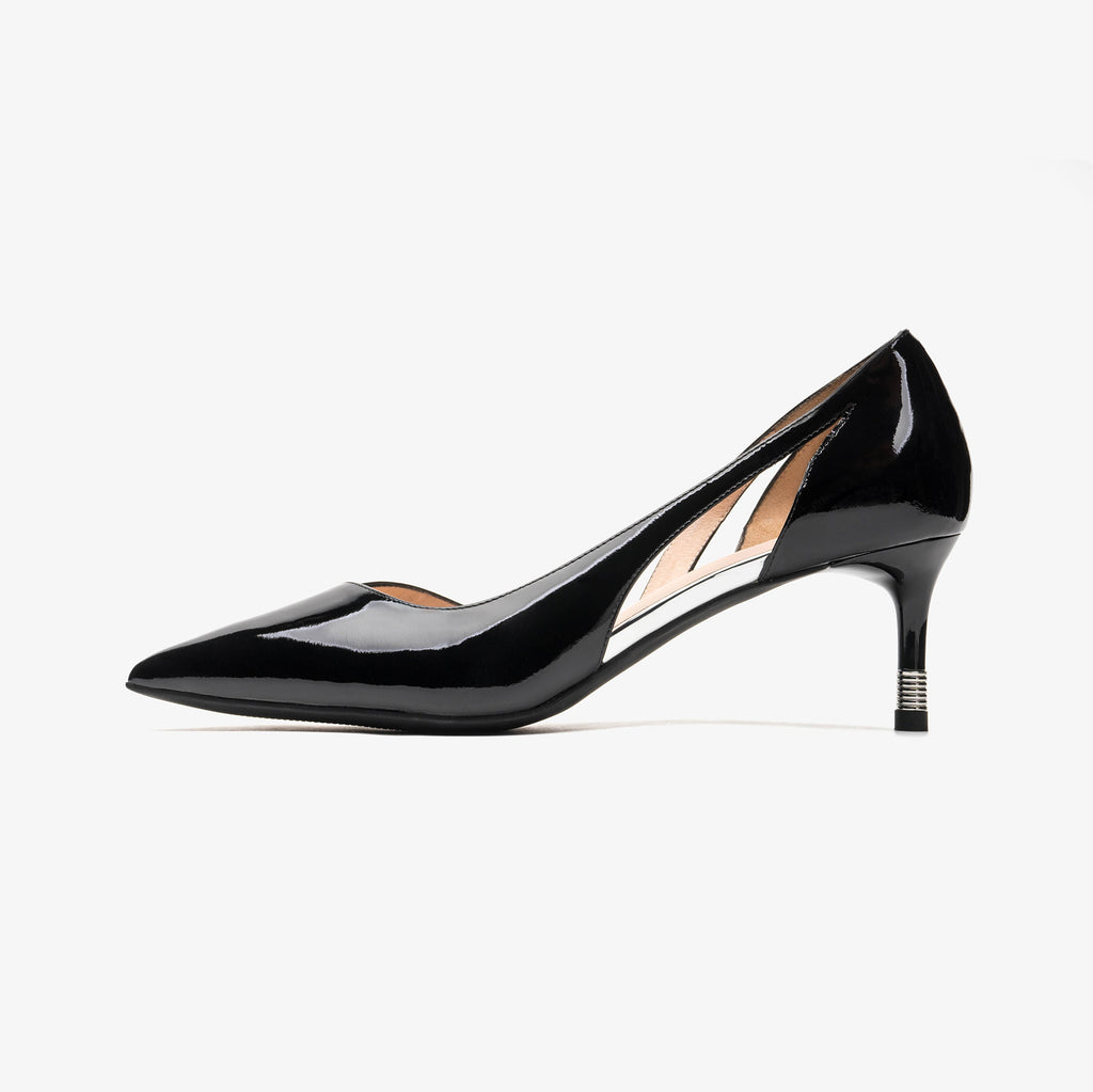 Leather Pointed-toe Pumps - Black 1M54117 BKP