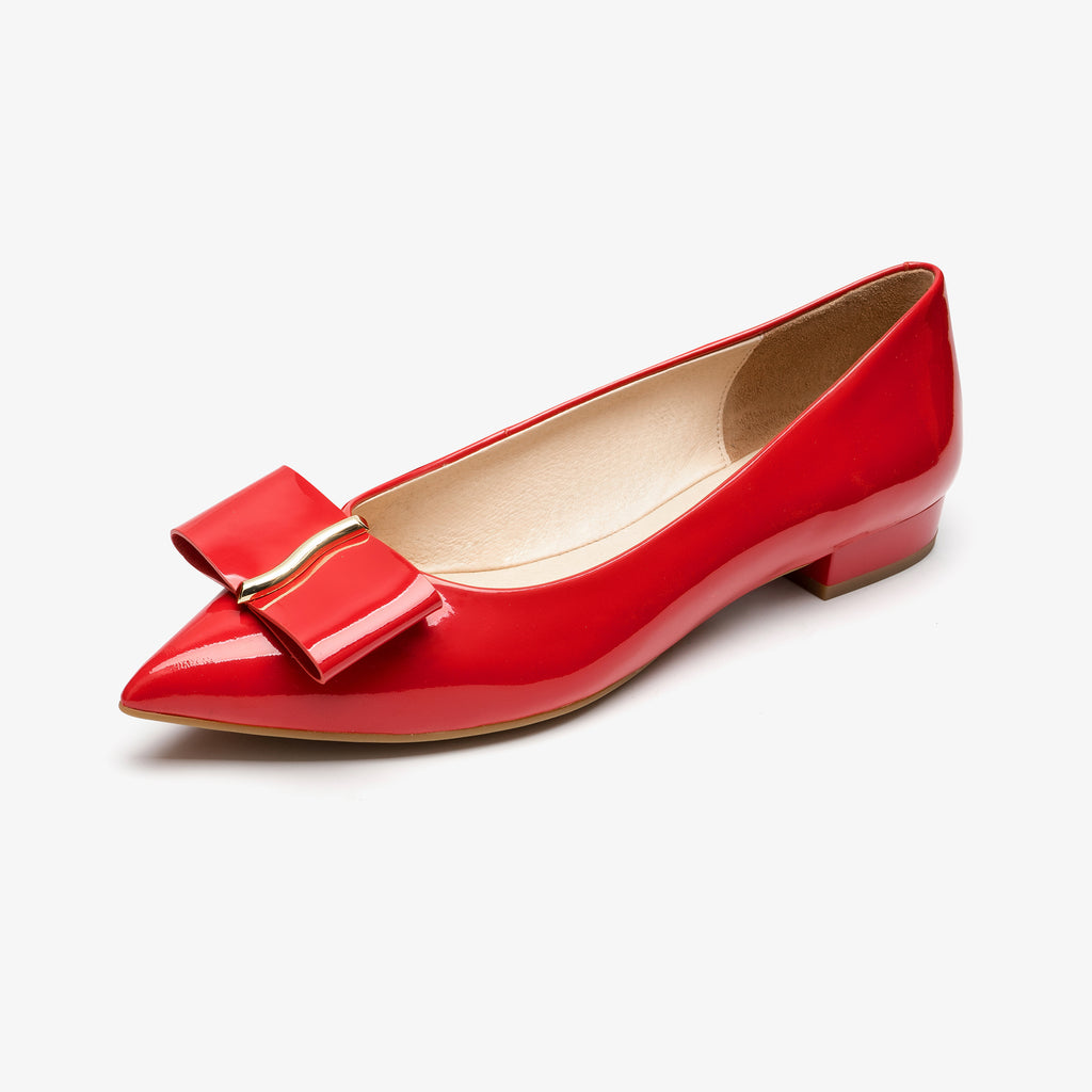 Flat Shoes with Bow detail - RED AM11501 RDP
