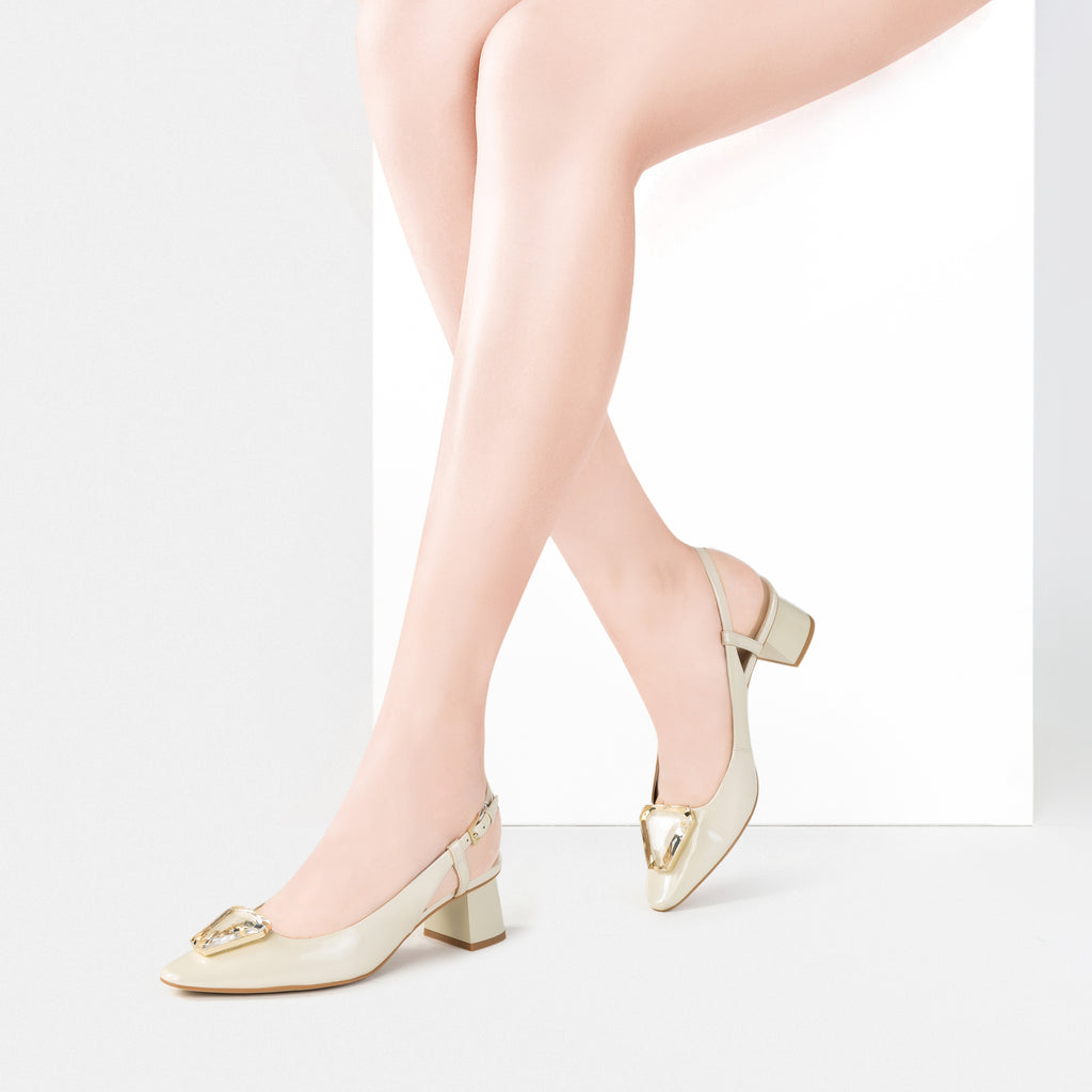 Leather Slingback Heels with Crystal Detail - Beige AM53101 - BEP