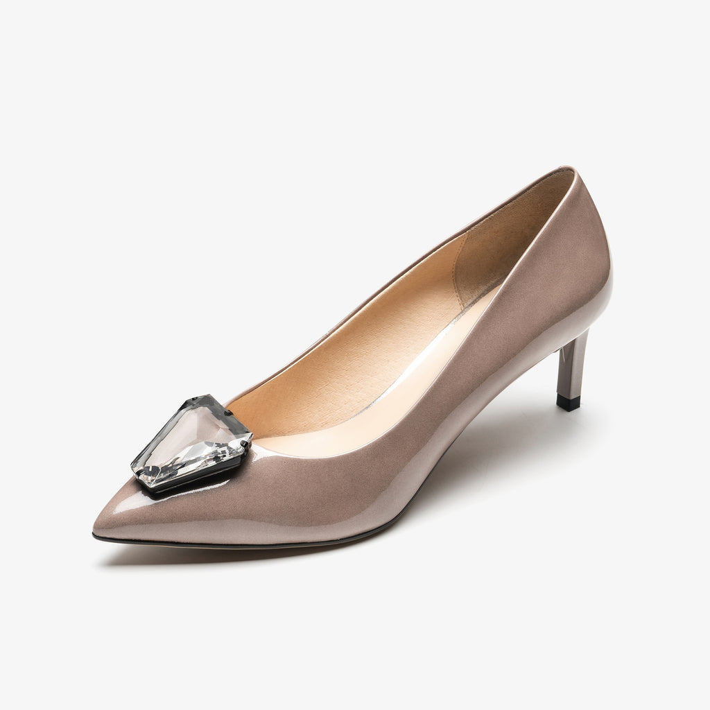Leather Pumps with crystal detail - Grey AM54107-GYP