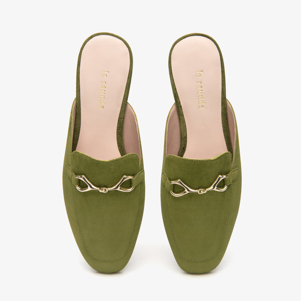 Suede Leather Mules with Buckle - khaki AT18802
