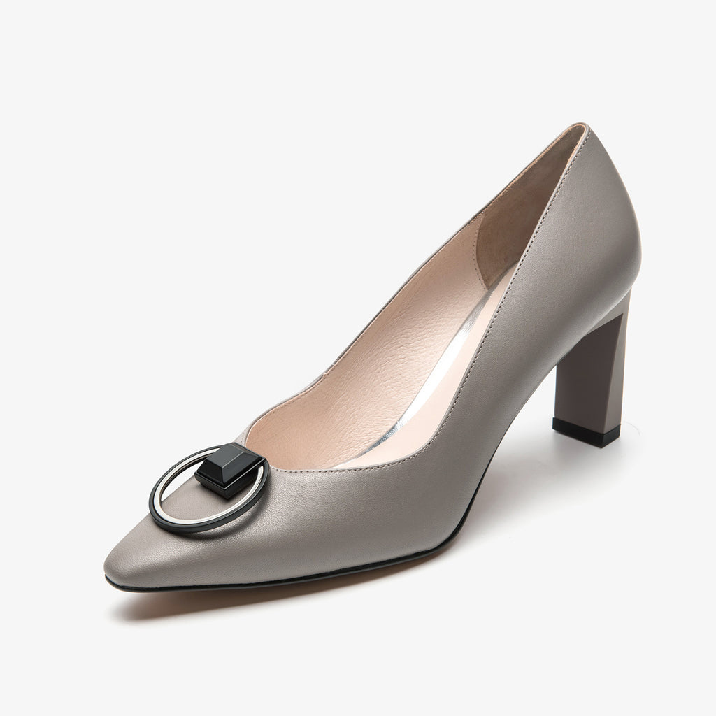 Leather Pumps with buckle detail - Grey AM70202-GYK