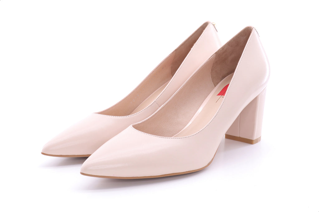 High Block Heel Pumps - Beige 9M70101 - BEK