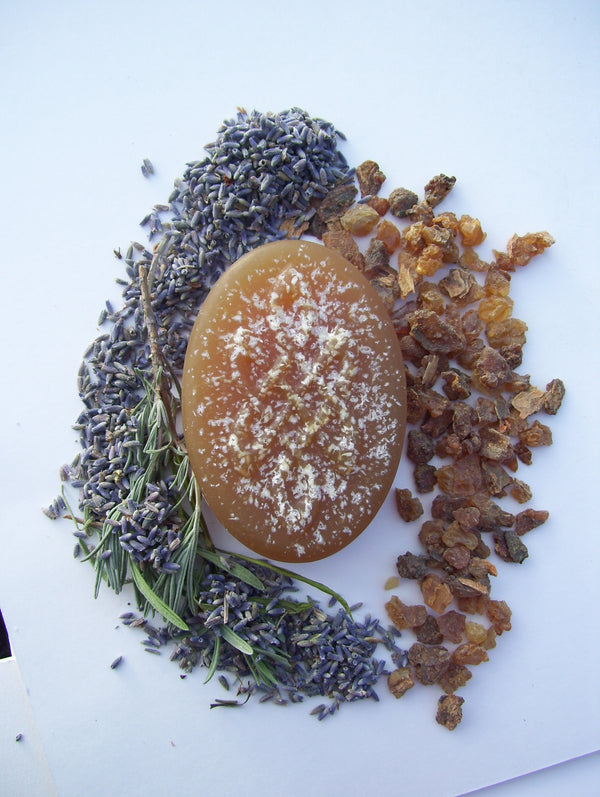 Lavender Myrrh - Exotic Tunisian Myrrh & French Lavender Soap with Argan and Black Cumin Seed Oils. Warm, Calming, Relaxing. 5oz bar