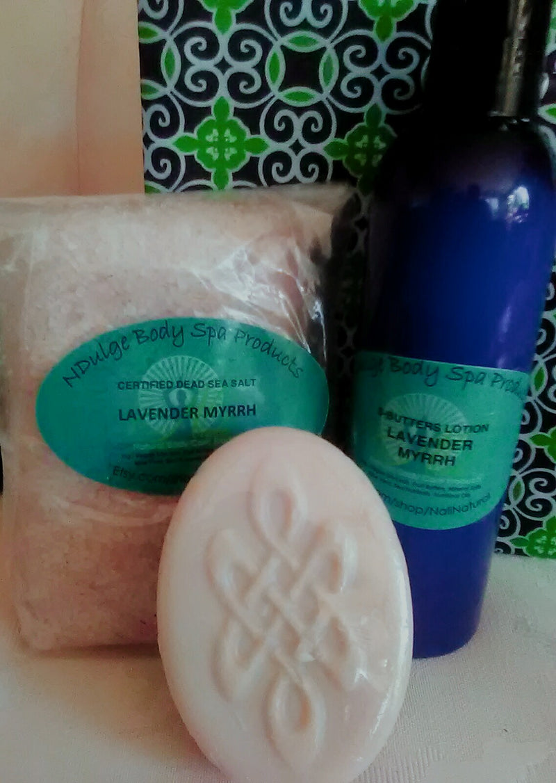 BEST VALUE - SPA PACKAGE - 12oz Scented Dead Sea Mineral Salts Blend, Soap and 8oz 5-Butters Lotion