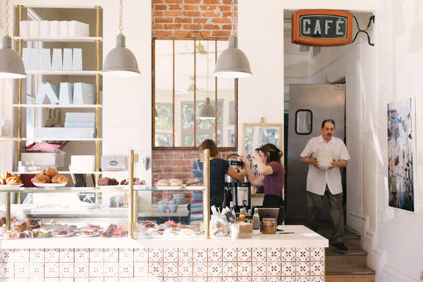 A look inside the pastry case and counter at Le Marais Bakery in San Francisco at Sassy Red Lipstick Galentine's Brunch