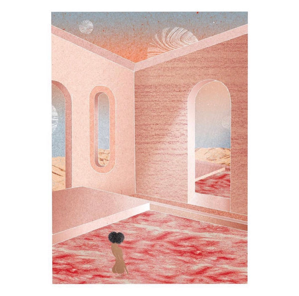 Charlotte Edey work of art called Chapel, showing a pink wall, sky and pink waters