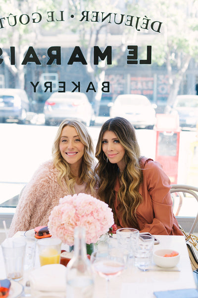 Shannon Willardson and Latisha Springer, fashion bloggers in San Francisco at Sarah Tripp's Galentine's Brunch at Le Marais Bakery