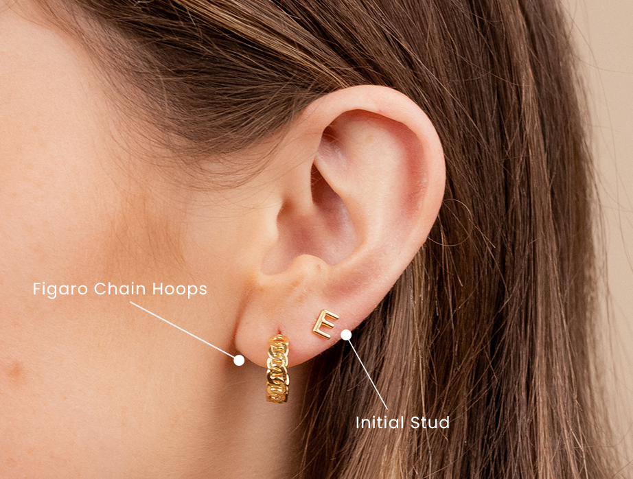 Earring Party 101, how to stack up dainty gold earrings like a pro, showing a gold hoop earring and initial stud earring by Katie Dean Jewelry made in America