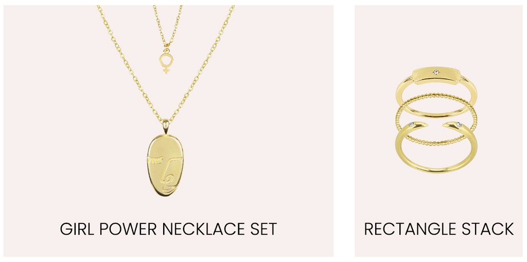 Girl Power Necklace Set and Rectangle Stack by Katie Dean Jewelry