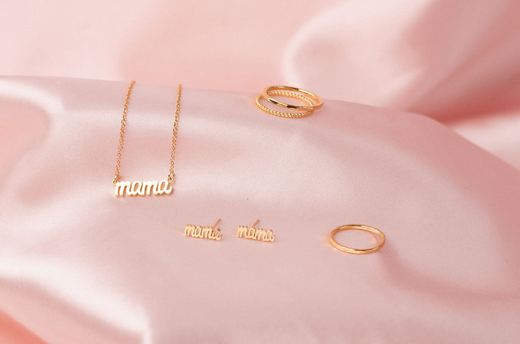 Mother's Day matching gold Mama Necklace and Mama Stud Earrings by Katie Dean Jewelry