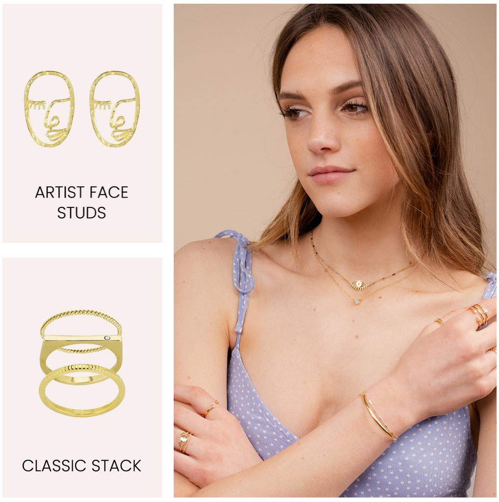Artist Face Studs, Classic Stack, Evil Eye Necklace, Birthstone Necklace, dainty summer jewels by Katie Dean Jewelry