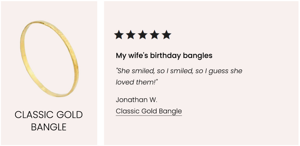 Five Star Customer Review, Classic Gold Bangle Katie Dean Jewelry
