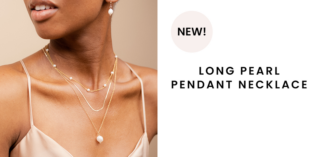 Long Pearl Pendant Necklace handmade in America by Katie Dean Jewelry