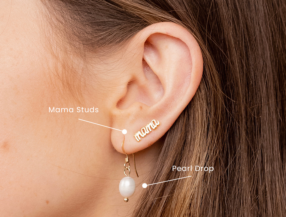 4 Earring Party 101, how to stack up dainty gold earrings like a pro, featuring the Pearl Drop Earrings and Mama Stud Earrings Katie Dean Jewelry made in America