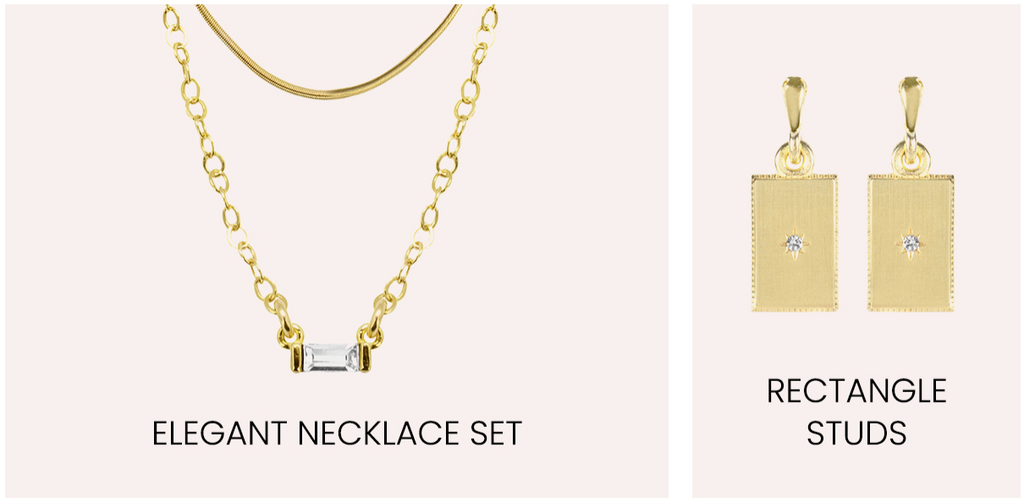 Elegant Necklace Set and Rectangle Studs by Katie Dean Jewelry