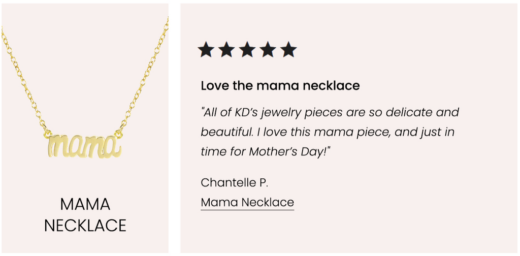 Five Star Customer Review, Mama Necklace Katie Dean Jewelry