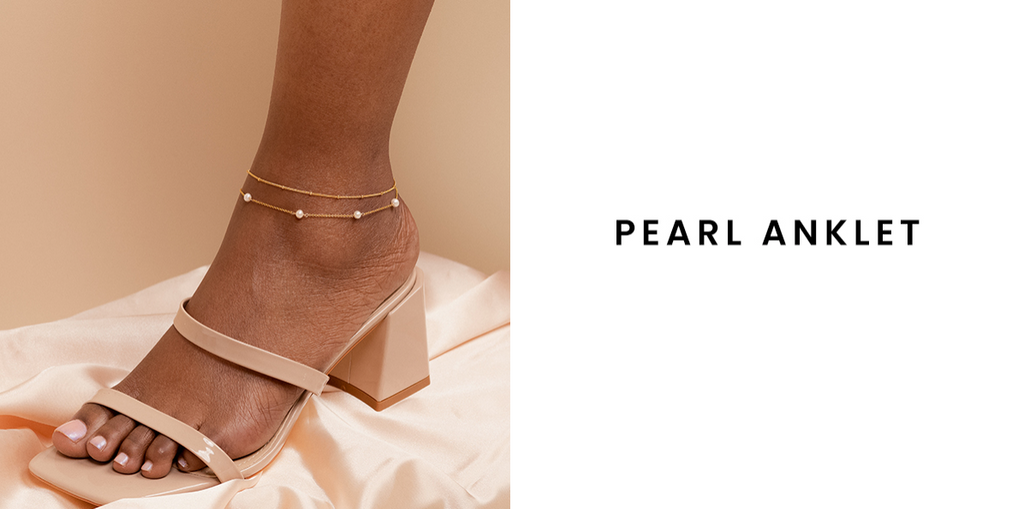 Dainty gold Pearl Anklet handmade in America by Katie Dean Jewelry