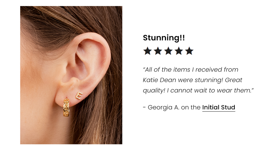 Five Star Customer Review for the Initial Stud Earring handmade in America by Katie Dean Jewelry