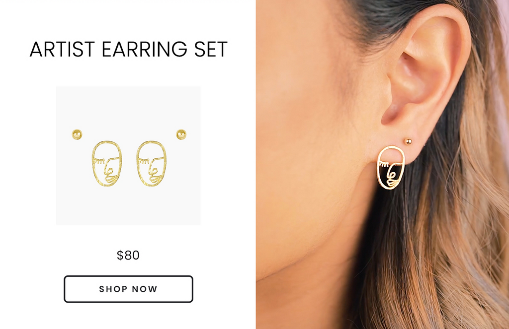 Artist Earring Set, Beaded Studs and Artist Face Studs Earring Set by Katie Dean Jewelry, safe for sensitive ears