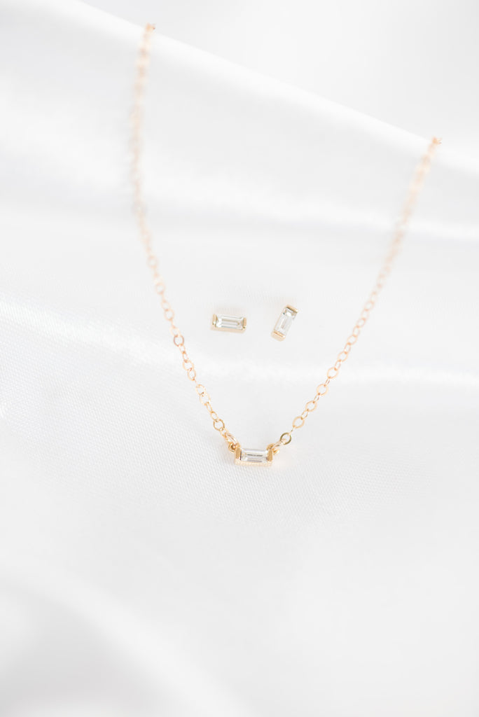 Baguette Necklace + Baguette Stud Earrings, Katie Dean Jewelry