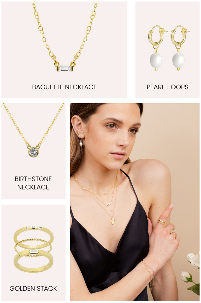 Golden Bridesmaid gifts by Katie Dean Jewelry, pearl earrings, baguette necklace, birthstone necklace, ring set