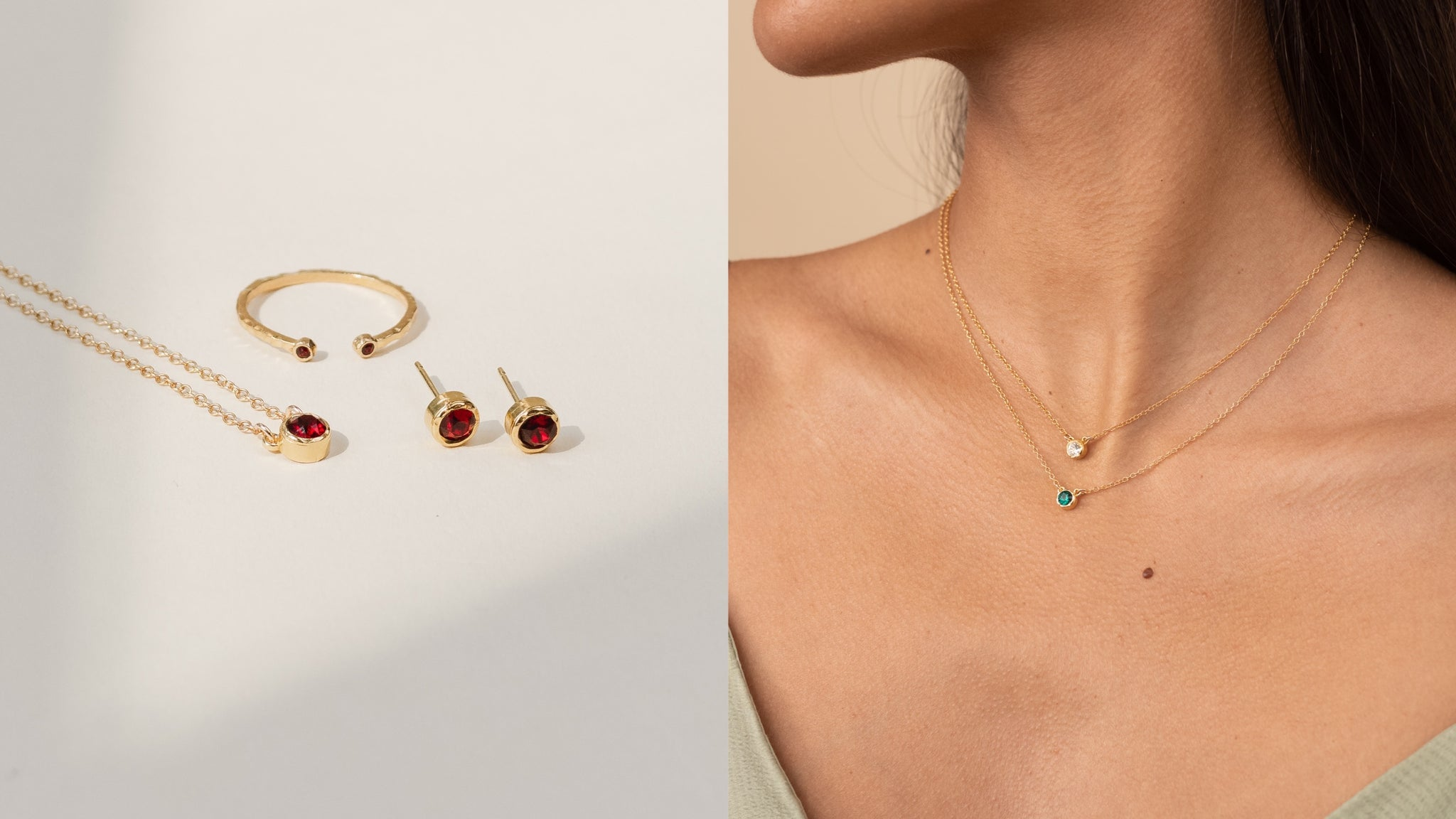 Birthstone Collection by Katie Dean Jewelry. Handmade in California. Dainty, personalized gifts, perfect for layering.