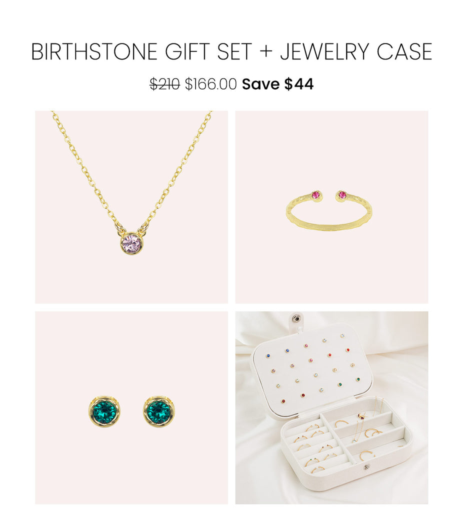 The Birthstone Gift Set by Katie Dean Jewelry, featuring a dainty gold Birthstone Necklace, Birthstone Ring, Birthstone Earrings and a FREE travel jewelry case