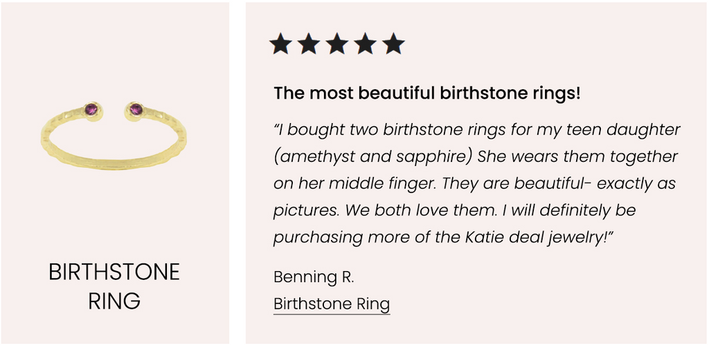 Birthstone Ring, Five Star Customer Review, Katie Dean Jewelry