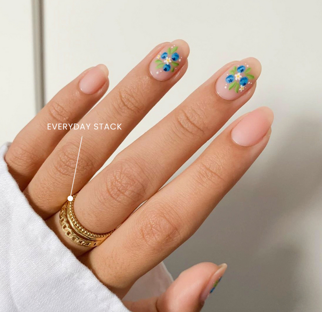 Blueberry manicure paired with the Everyday Stack  handmade by Katie Dean Jewelry