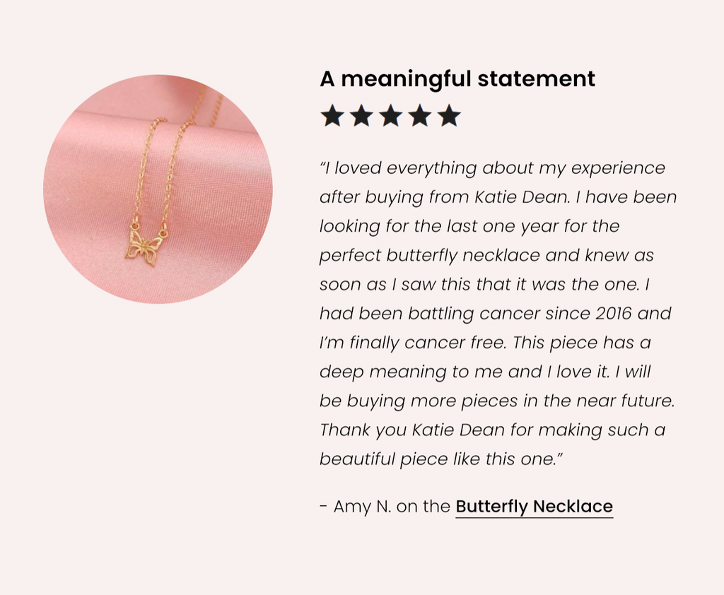 Butterfly Necklace 5-Star Customer Review, Katie Dean Jewelry handmade in the USA