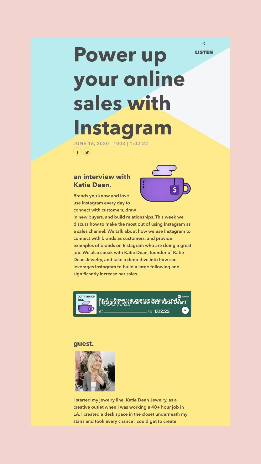 Image showing the Commerce Tea Podcast icon and text of the power-up-your-online-sales-with-instagram podcast interview with Katie Dean