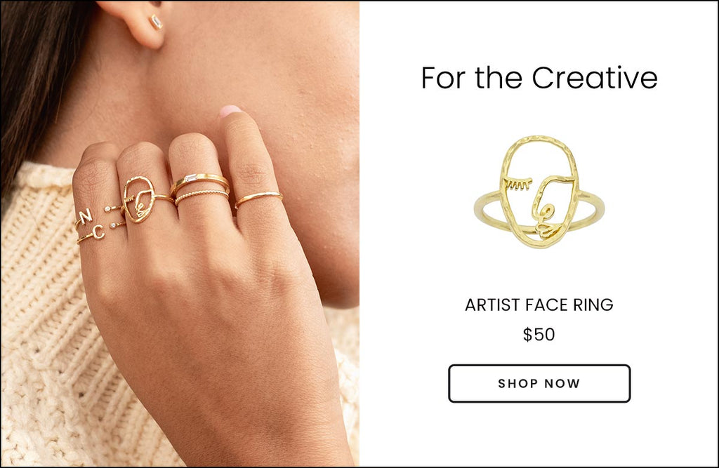 Artist Face Ring shown on a hand with the Initial Rings, Baguette Rings and Hammered Band Rings, handmade by Katie Dean Jewelry