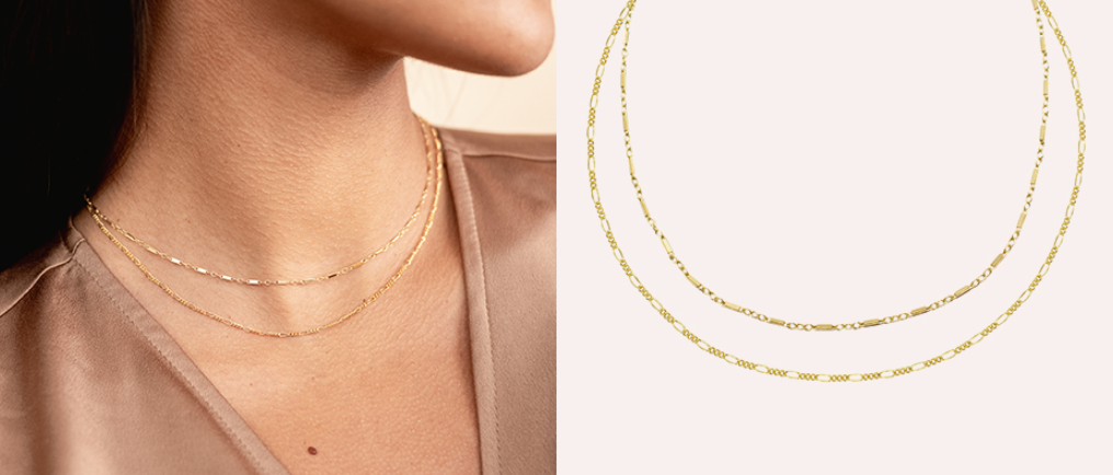 Dainty gold Gold Chain Everyday Necklace Set by Katie Dean Jewelry, handmade in America