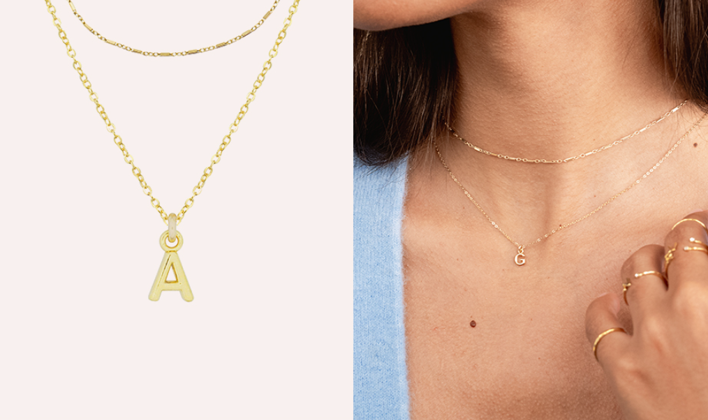 Dainty gold Personalized Initial Necklace Set by Katie Dean Jewelry, handmade in America