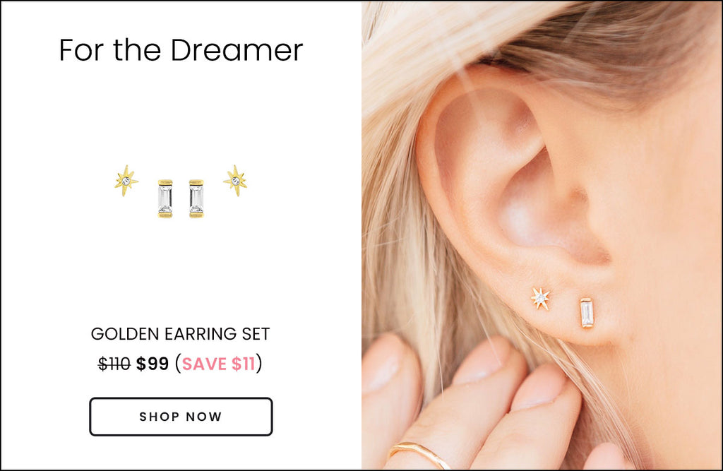 Picture of the Golden Earring Set on a white background and another photo of a model wearing the earrings made by Katie Dean Jewelry