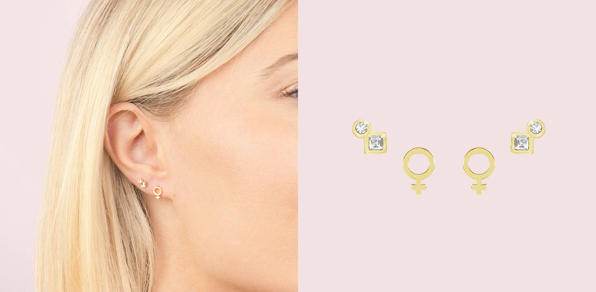 Earring Sets by Katie Dean Jewelry. Featuring the Female Symbol Studs and Geo Mini Studs. Sold as a set so you can save while shopping for your nickel free, hypoallergenic earrings.