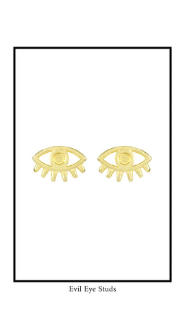 Evil Eye Earring Studs from Katie Dean Jewelry on white background.