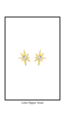 Little Dipper Stud earrings, look like starbursts with white Swarovski Crystal in the middle.