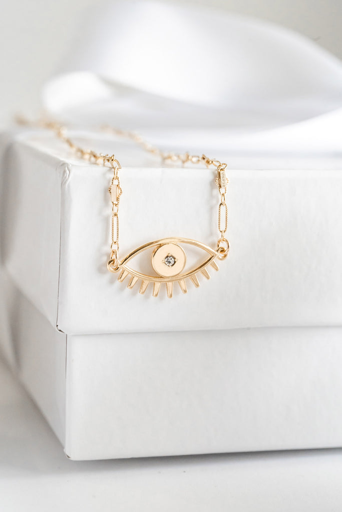 Evil Eye Necklace, Katie Dean Jewelry, dainty jewelry gift guide