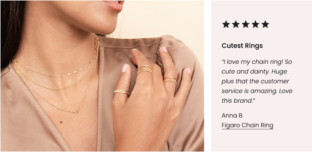 Figaro Chain Ring, Five Star Customer Review, Katie Dean Jewelry