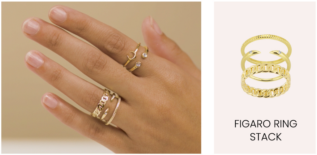 Figaro Ring Stack, dainty gold rings, Katie Dean Jewelry