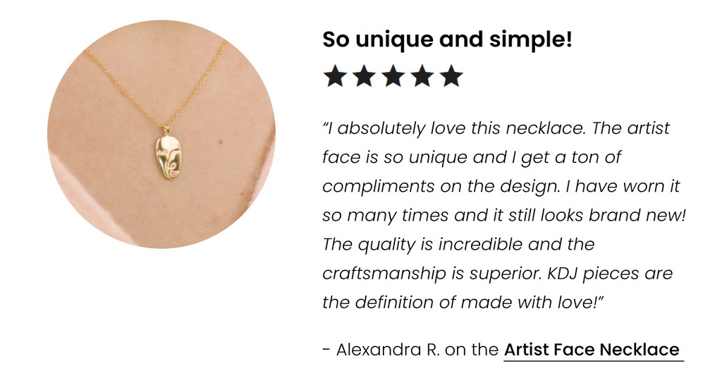 Artist Face Necklace handmade in America by Katie Dean Jewelry, 5-Star Customer Review