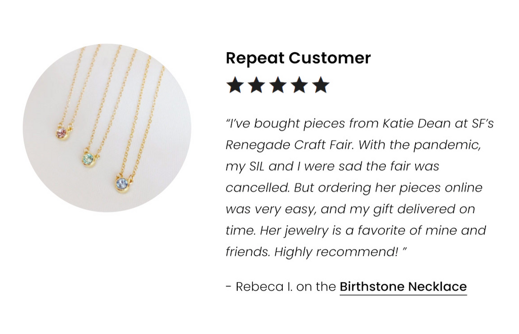 5-Star Customer Review of the Birthstone Necklace by Katie Dean Jewelry