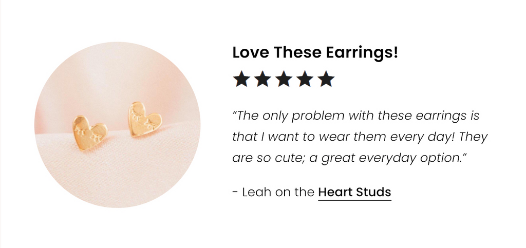 Five star review for the Heart Studs by Katie Dean Jewelry
